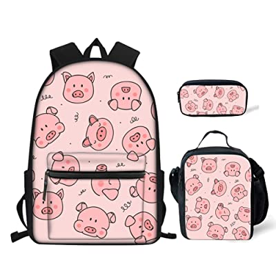 BIGCARJOB Pig Prints Elementary Girls School Bookbag Rucksack for Primary Girls School Backpack Set with Lunch Kits | Kids' Backpacks