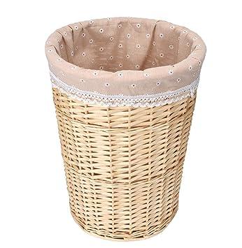 MYJ Furniture Cesta de ratán de Mimbre Habitación de Hotel Toalla Toalla de baño Ropa de Almacenamiento Tejido Basketful (Color : Color Madera, ...
