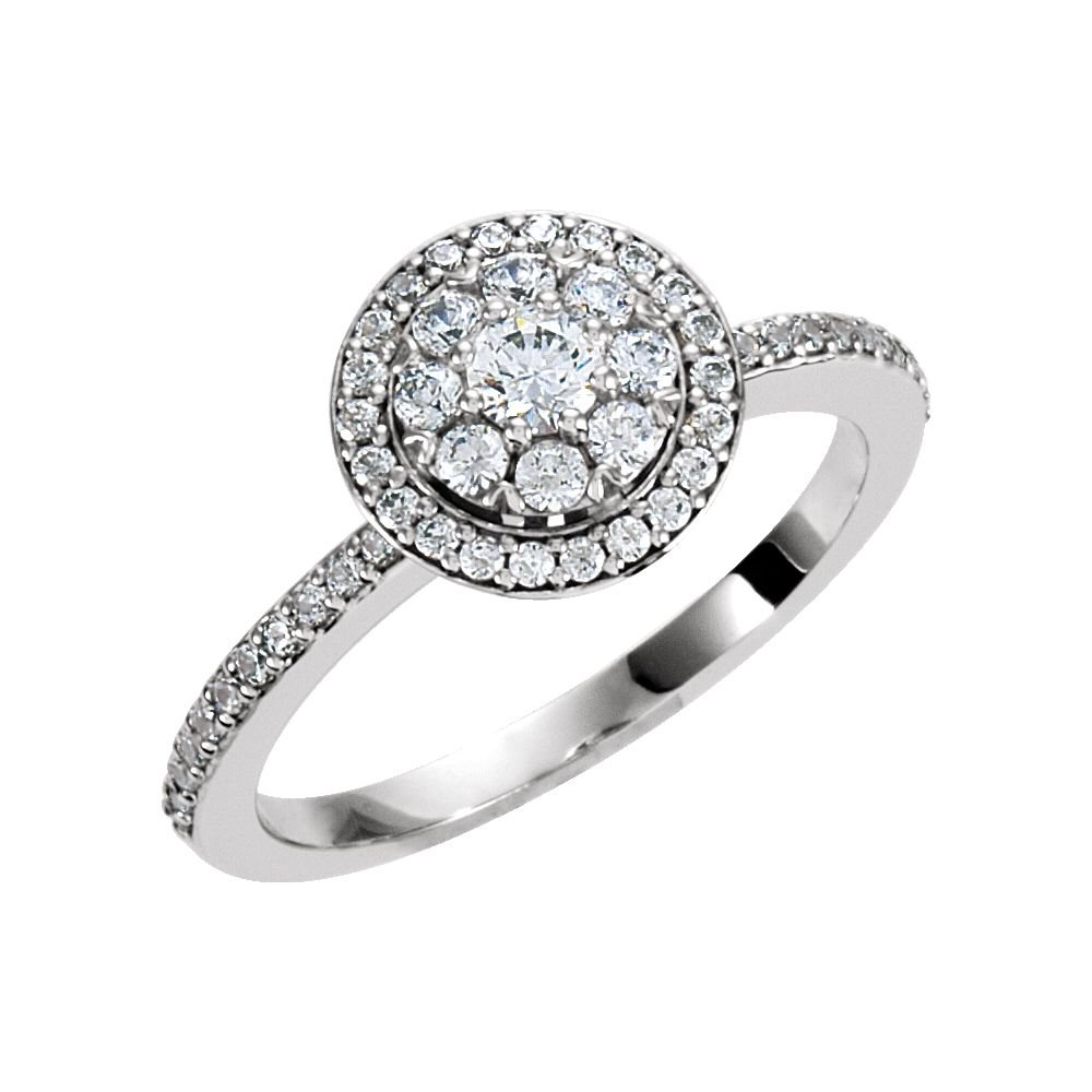 18k White Gold 1/3 Ct Diamond Halo Cluster Top Engagement Ring