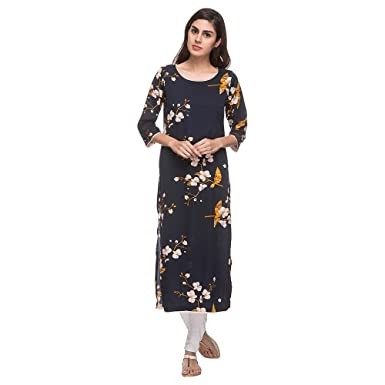 356f9d89f67 Kashish by Shoppers Stop Womens Round Neck Printed Kurta  Amazon.in   Clothing   Accessories