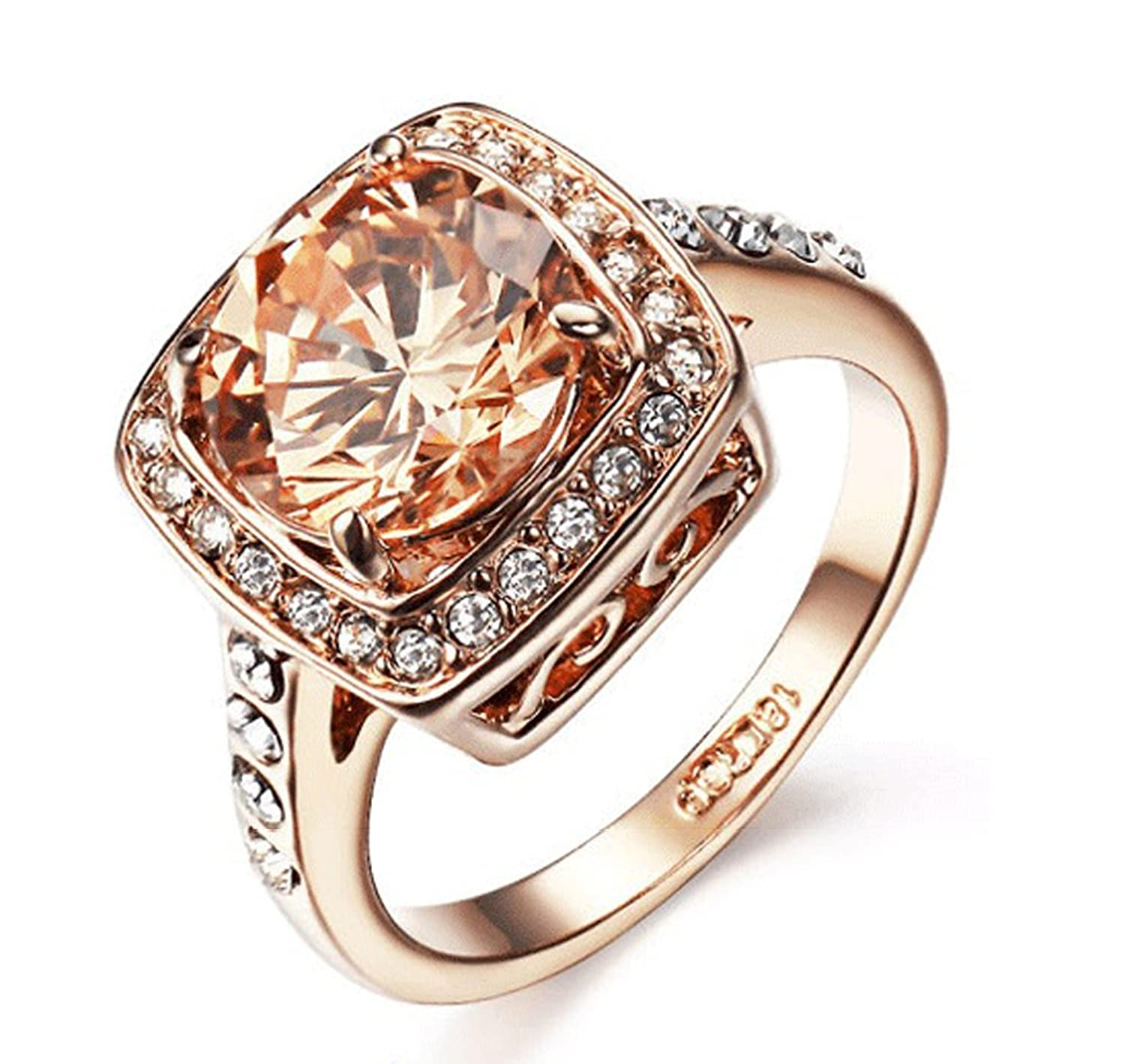 Amazon: Yellow Shinning Cubic Zirconia Topaz Rings For Women 18k Rose  Gold Plated: Jewelry