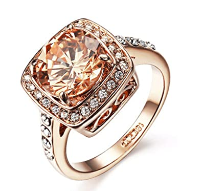 Amazoncom Yellow Shinning Cubic Zirconia Topaz Rings For Women 18K