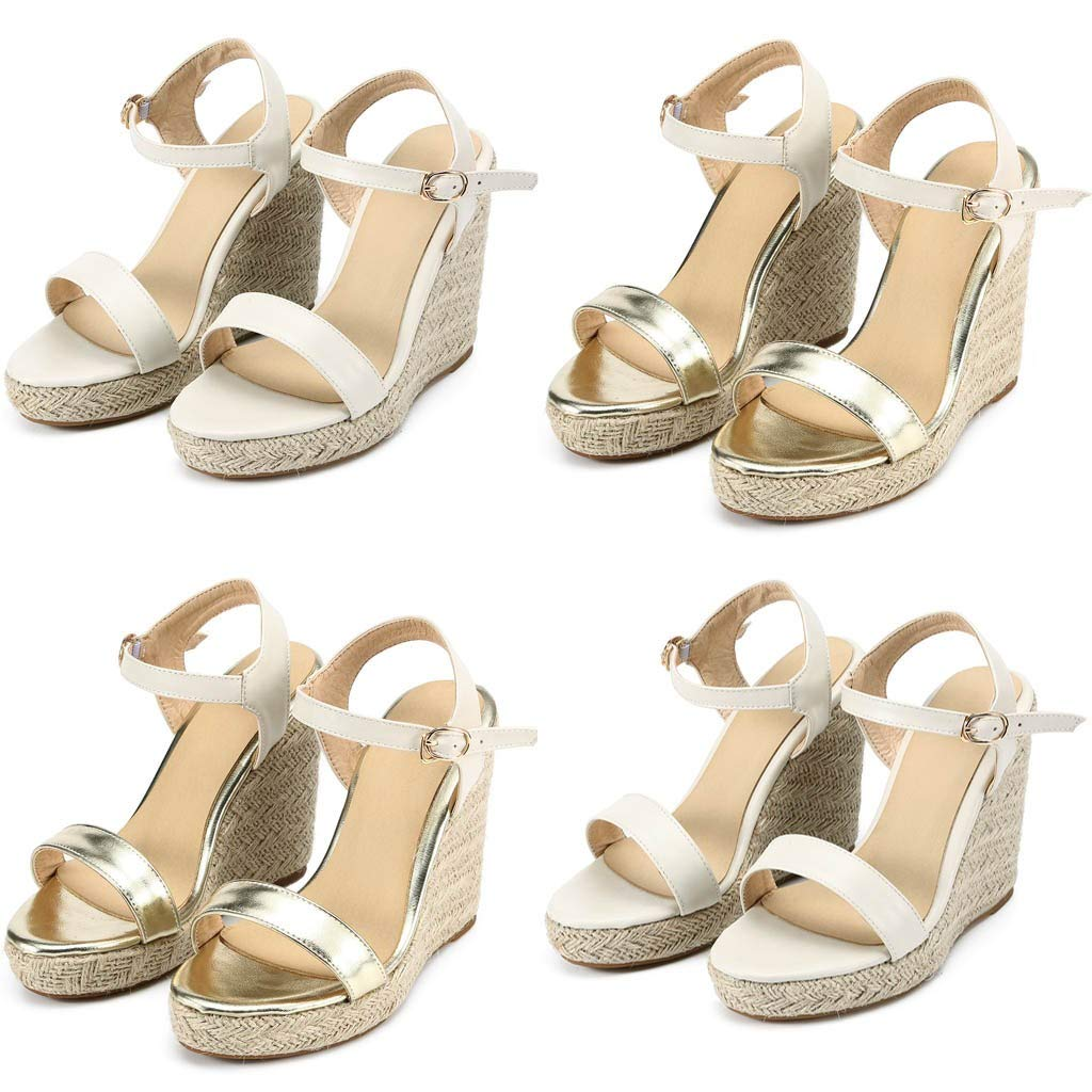b09f58ea73fa8 Amazon.com: Women's Wedge Sandals Summer Buckle Strap Open Toe Platform  High Heels Ankle Strap Pumps Shoes: Clothing