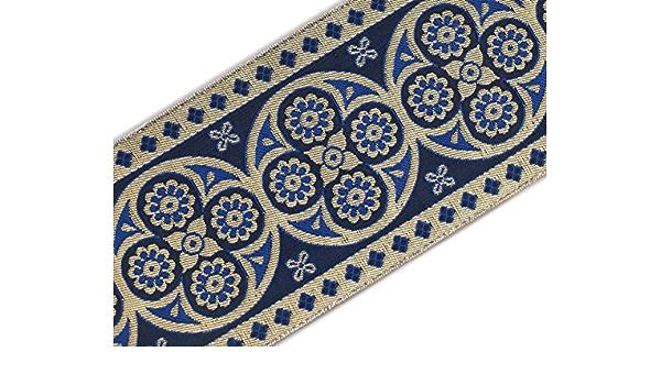 Blue Brown /& Silver Jacquard Ribbon Trim 10mm Wide 4.5 Metres Grey Black