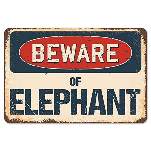 Shunry Beware of Elephant Placa Cartel Vintage Estaño Signo ...