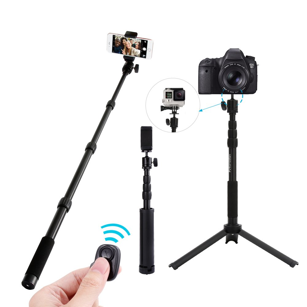 Selfie Stick Tripod, Moreslan Camera Tripod Extendable Aluminum 360 Degree Adjustable Monopod Stand with Bluetooth Remote Control for Cell Phone (Smartphone), Gopro and Digital Cameras - Black