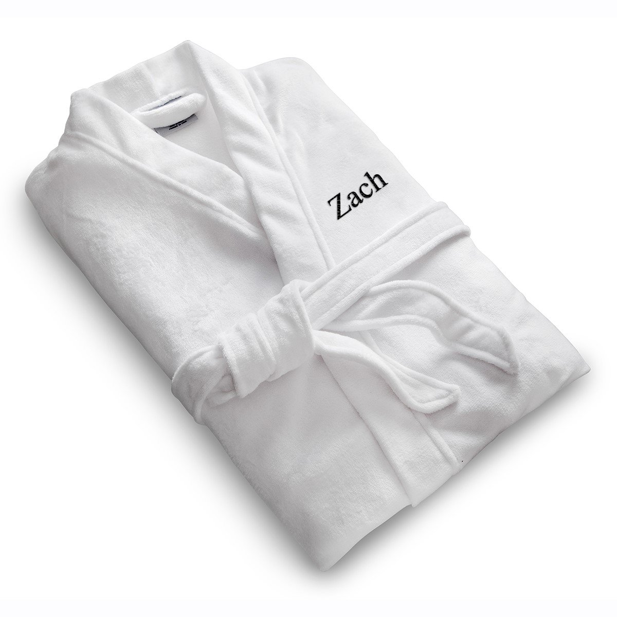 A Gift Personalized Personalized White Micro Fiber Bath Robe forHim