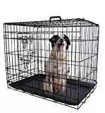 "30"" 2 Doors Wire Folding Pet Crate Dog Cat Cage Suitcase Kennel Playpen w/ Tray Review"