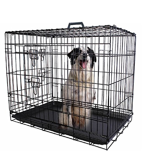30' Enclosure Kit (30'' 2 Doors Wire Folding Pet Crate Dog Cat Cage Suitcase Kennel Playpen w/ Tray)
