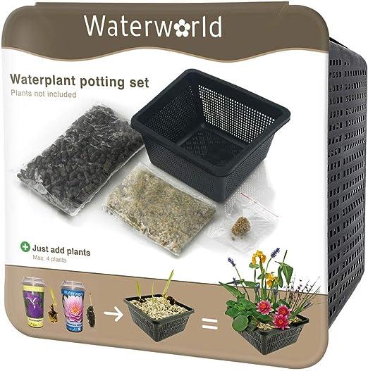Waterworld Aqua Set set de pots pour tous les types de plantes aquatiques   Hauteur: 10 cm Plante aquatique panier, /étang, gravier, terreau et engrais pour plantes BOTANICLY