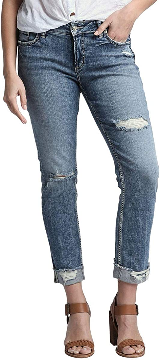 Silver Jeans Co. Women's Plus Size Elyse Curvy Mid Rise Skinny Fit Ankle Jean