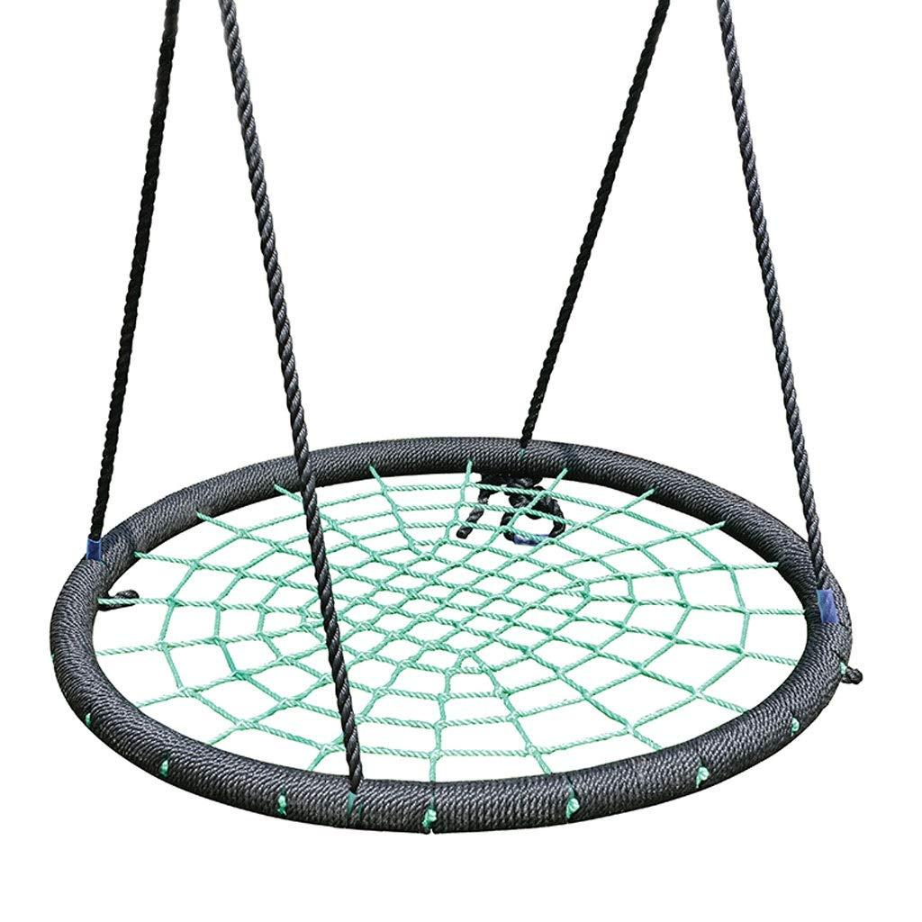 Altalena rossoonda per Bambini Altalena per Interno ed Esterno per Bambini Corda Rete per Bambini Altalena con Cuscinetti a Sfera da 440 lb Diametro 100 cm ( Colore   verde )
