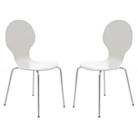 Strange Your Price Furniture Com Set Of 2 Kimberley White And Chrome Metal Keeler Style Stackable Dining Chairs Kitchen Cafe Bistro Stacking Chairs Machost Co Dining Chair Design Ideas Machostcouk