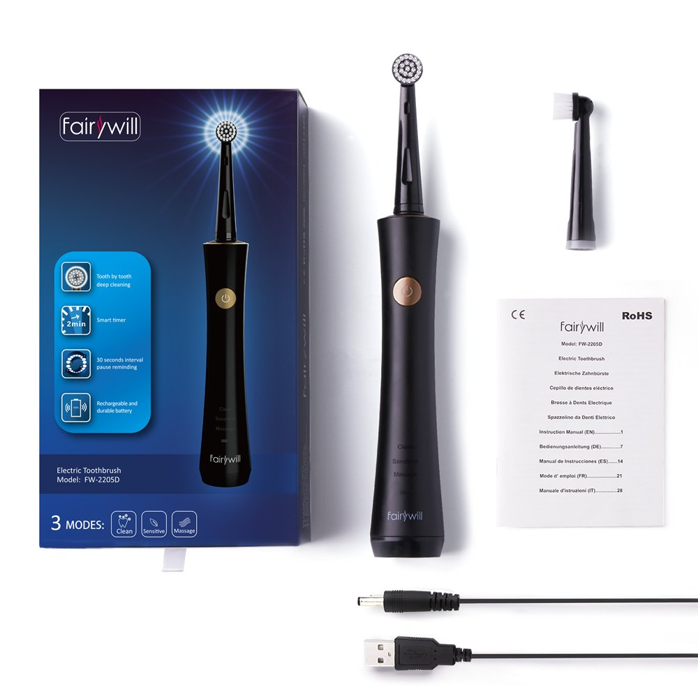 Amazon.com: Electric Toothbrush Fairywill Rotating Toothbrush ...