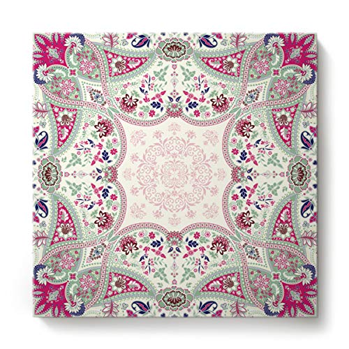 Fandim Fly Mandala Design Floral Ornamental Geometric and Square Print Creative Art Paintings Canvas Oil Paintings Wood Stretched Home Decor Ready to Hang 12x12inch