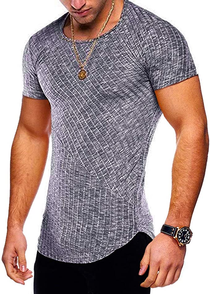 Men/'s Slim Fit O Neck Short Sleeve Muscle Tee Shirts Casual T-shirt Top Blouse Y