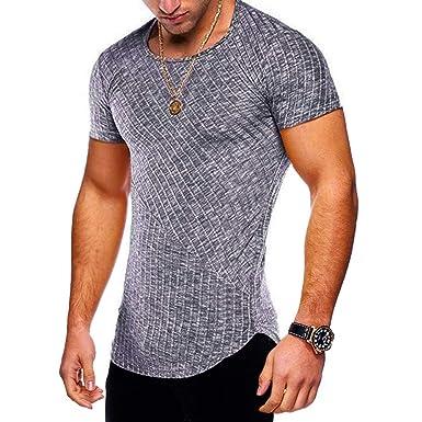 ed08bb745 Hip Hop Shirt Short Sleeve Cotton Men Stripe Curved Hem Slim Fit Tops  Black9 S