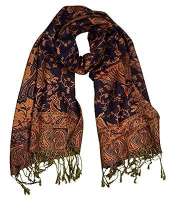 Peach Couture Elegant Reversible Paisley Pashmina Shawl Wrap (Burnt Orange and Navy)