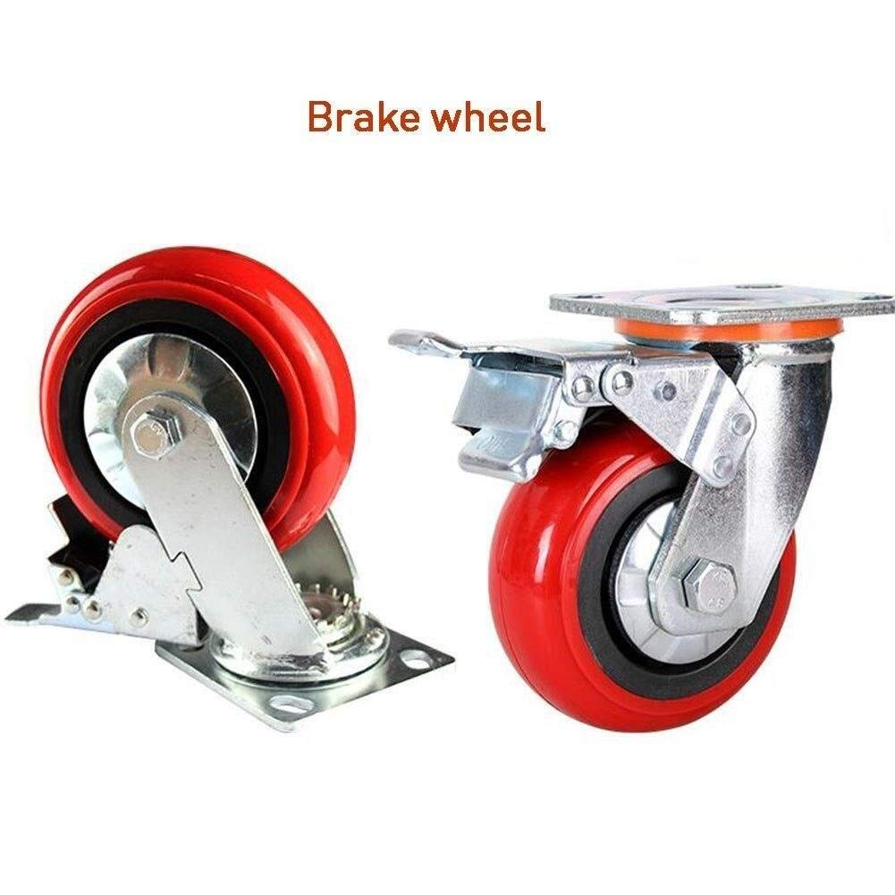 4/5/6/8 Inch Heavy Type Industrial Wheel,Universal Wheel Silent Casters Trolley Mechanical Wheel (Color : 8 inches, Size : Brake) by W-h-e-e-l-s