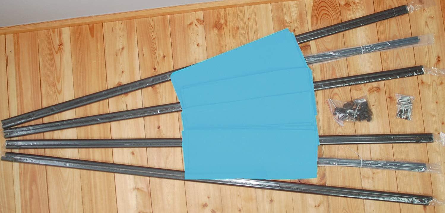 wetterfester Polyester-Stoff faltbar//flexibel verstellbar IMC Paravent 4-teilig hellblau Raumteiler Trennwand Sichtschutz Schwarze Metallstangen