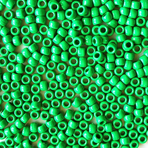 Green Pony Beads - Green Opaque Plastic Craft Pony Beads, 6x9mm, 500 Beads