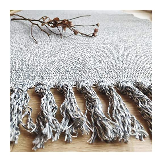 """Ustide Hand Woven Rug Braided Rug Gray White Cotton Reversible Rug with Tassels Floor Runner for Laundry Room/Kitchen/Bathroom/Bedside 23.6""""x70"""" - Each rug is hand made and hand woven to add style and durability Cotton material, more soft and environmental friendly; Tassel design, bring you a unique feeling. Recycled fabric with various colors makes for a great accent in any home décor; Thickness: 0.7cm - runner-rugs, entryway-furniture-decor, entryway-laundry-room - 618MnFKwPdL. SS570  -"""