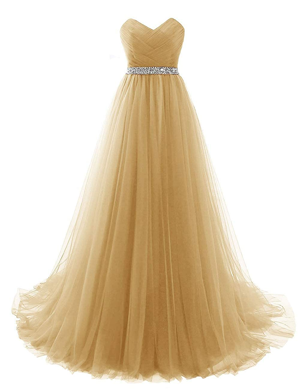 Champagne Vantexi Women's Sweetheart Beaded Belt Tulle Evening Prom Dresses