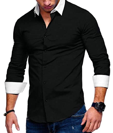 704b744441 HTOOHTOOH Mens Dress Shirts Slim Long Sleeve Casual Button Down Wrinkle  Free Shirts Black XS