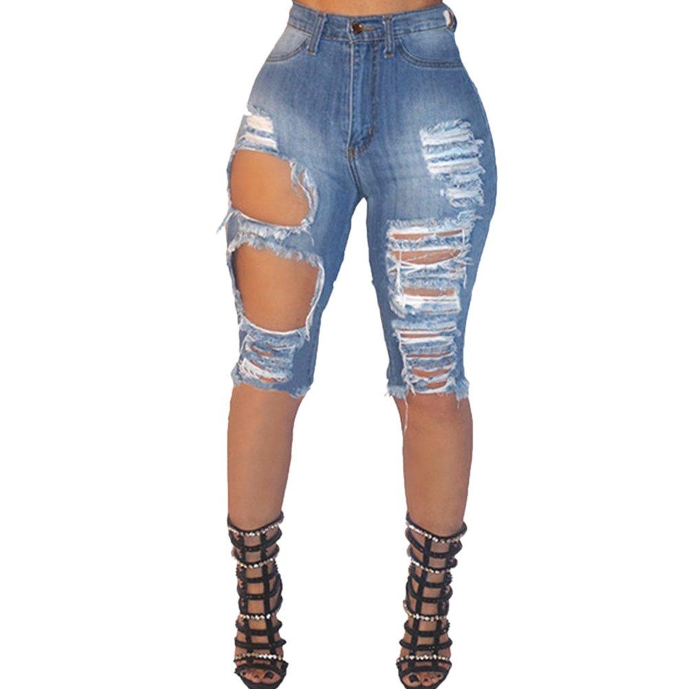 Zhuhaitf Women's Denim Knee Shorts, Boyfriend Style Distressed Denim Jeans for Women