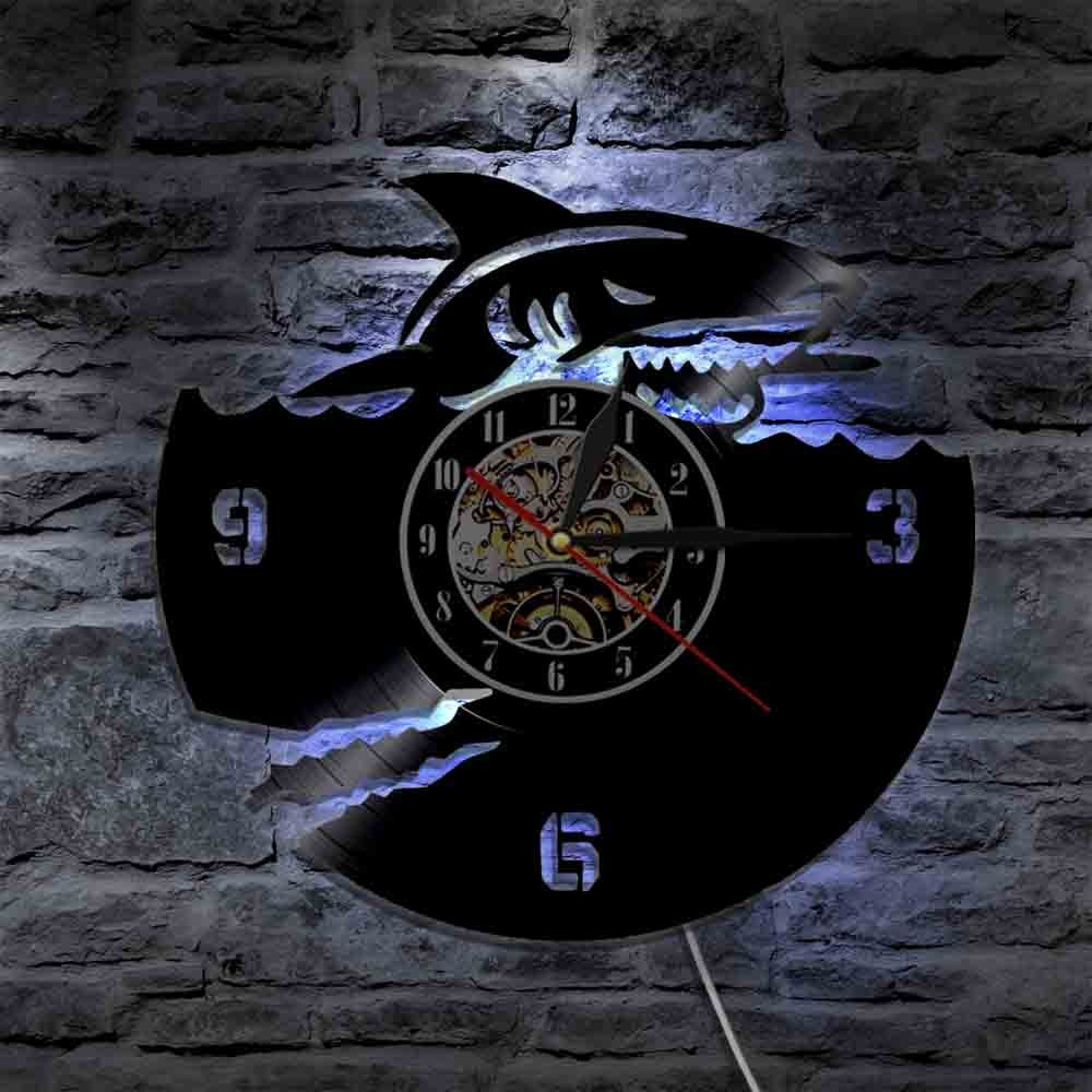 The Geeky Days Ocean Animals Shark Vinyl Record Wall Clock Great White Shark Modern Design Wall Watch Art Interior Home Decor Marine Jaws Gifts (With Led) by The Geeky Days (Image #4)