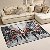 Naanle Paris Artwork Area Rug 2'x3', Oil Painting Eiffel Tower Polyester Area Rug Mat for Living Dining Dorm Room Bedroom Home Decorative
