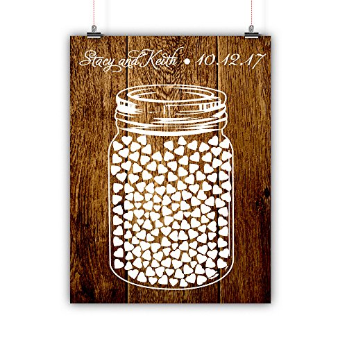 Personalized Wedding Guest Book Alternative Mason Jar Customized Poster, Print, Framed or Canvas, 150 Signatures Rustic Wood Background