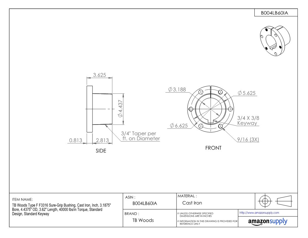 Standard Keyway 3.1875 Bore TB Woods Type F F3316 Sure-Grip Bushing Inch Cast Iron 40000 lbs//in Torque 4.4375 OD 3.62 Length Standard Design