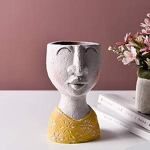Modern Ornaments Statue Head Planter,Resin Flower Pot Vase,Face Vase Home Garden Decorative Family Art Sculptures for Indoor Outdoor Art House - Little Girl