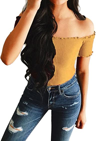 FAMILIZO Camisetas Mujer Manga Corta Camisetas Mujer Verano Blusa Mujer Sport Tops Mujer Verano Camisetas Sin Hombros Mujer Camisetas Mujer Manga Corta Algodón: Amazon.es: Ropa y accesorios