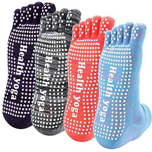 Reehut Non Slip Skid Yoga Socks Toe w/ Grip for Exercise, Barre, Bikram, Pilates & Workout (4 Pairs Multicoloured)