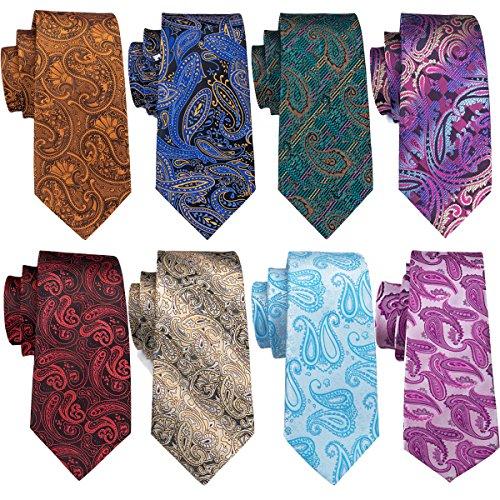 - Men Ties Paisley Silk Red Floral Neckties Set Formal Wedding Woven Necktie Party Fashion