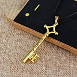 Attack on Titan Eren Jaeger Key Pendant Necklace Gold Metal/Black Leather