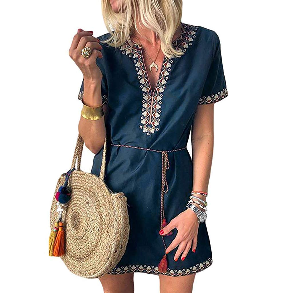 Women's Bohemian Dress Plus Size Sengei V-Neck Vintage Floral Print Short Sleeve Boho Beach Mini Dress (M, Blue)