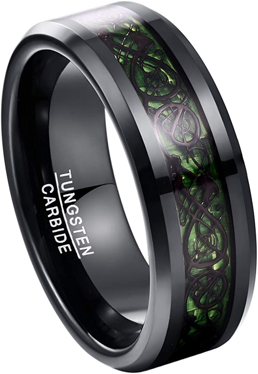 TUNGSTORY 8mm Tungsten Carbide Celtic Dragon Wedding Ring Inlaid with Blue Carbon Fiber Black Polished Comfort Fit Size 5-14