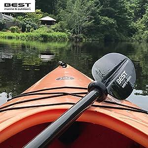 BEST Kayak Paddle   Carbon Fiber Shaft + Reinforced Fiberglass Blades   Lightweight, Adjustable Paddles For Kayaks   Accessories for Kayaking & Fishing   Paddle Leash Included