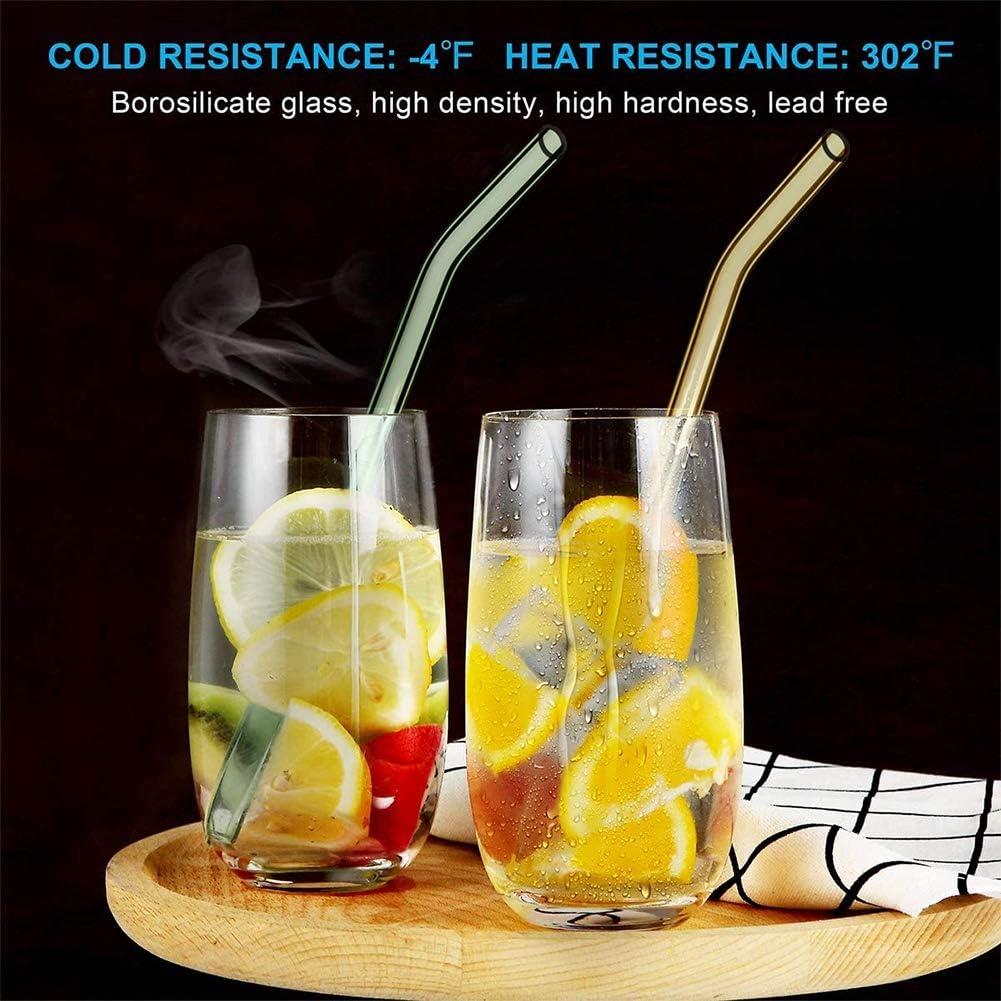 HONZUEN 8 Glas Strohhalm Wiederverwendbar mit 2 B/ürsten Frei von BPA Glasstrohalme Bunt Lang Kurz Gedrehte Glasstrohhalme Sp/ülmaschinenfest /Öko GlasTrinkhalme f/ür Cocktail Glas Bechern Saftgl/äsern
