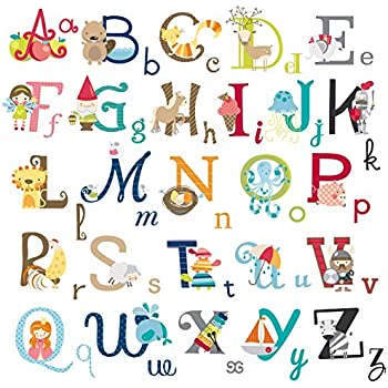 Big Graphic Alphabet Letters Kids Room/Nursery Wall Decal Stickers ...