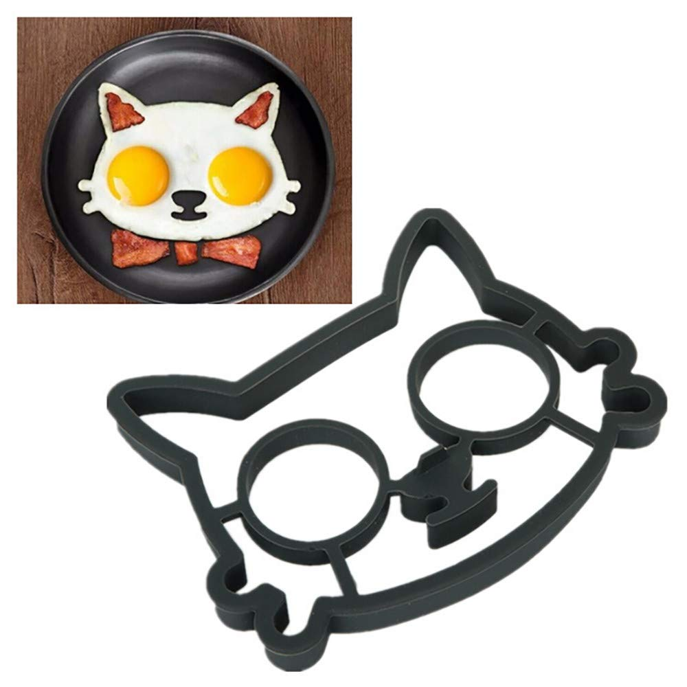 Longay Egg Mould, Kitchen Silicone Cat Egg Shaper Cat Fried Eggs Mould Cute Interesting Mould
