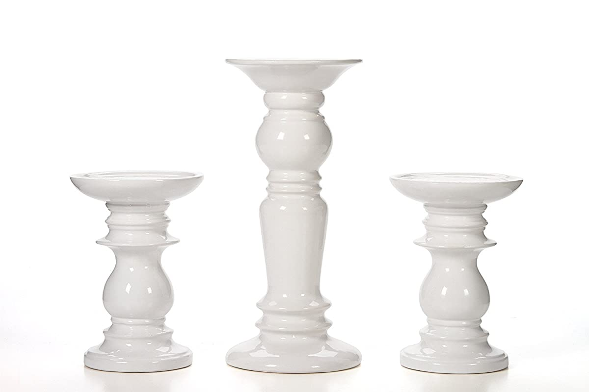 Better Homes and Gardens Ceramic Pillar White Candle Holders, Set of 3