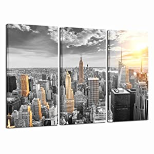LevvArts - Large 3 Piece New York City Canvas Wall Art Empire State Building at Gold Sunset Pictures Poster Print Modern Cityscape Painting for Living Room Office Decor Framed Ready to Hang