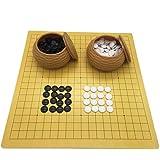 Gobus Go Chess Juego de ajedrez Juego de Tablero de ajedrez de Cuero con Piedras de plástico en latas imitación de Paja…
