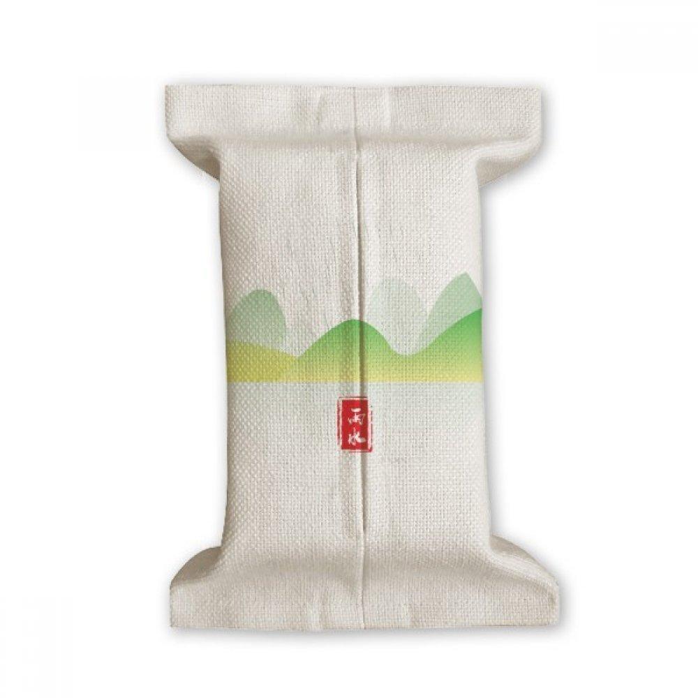Circular Rain Water Twenty Four Solar Term Tissue Paper Cover Cotton Linen Holder Storage Container Gift