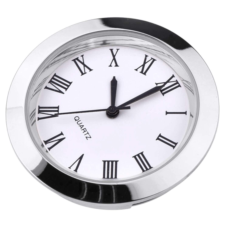 Round Quartz Clock Insert with Roman Numerals Fit 35 mm Diameter Hole Hicarer 1-1//2 Inch Gold Bezel 37 mm