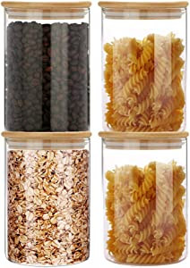SIXAQUAE Glass Food Storage Containers Jar Seal Bamboo Lids 4 Packs 1000ml Airtight Canister Organization Sets Stackable…